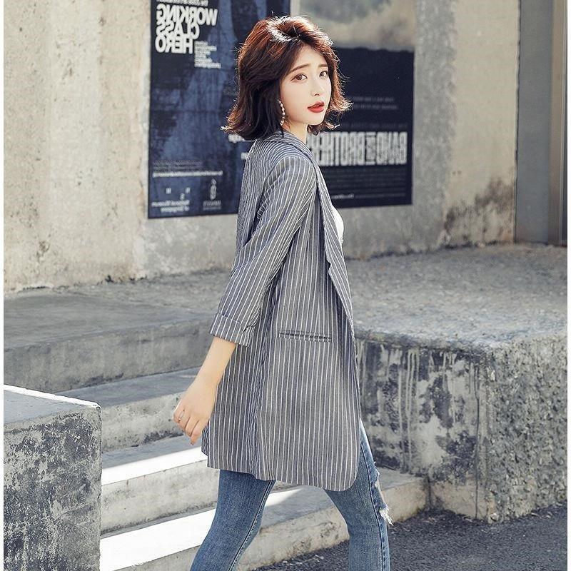 Chic stripe suit casual short jacket fashion spring and autumn 2019 Korean slim fit Blazer for women