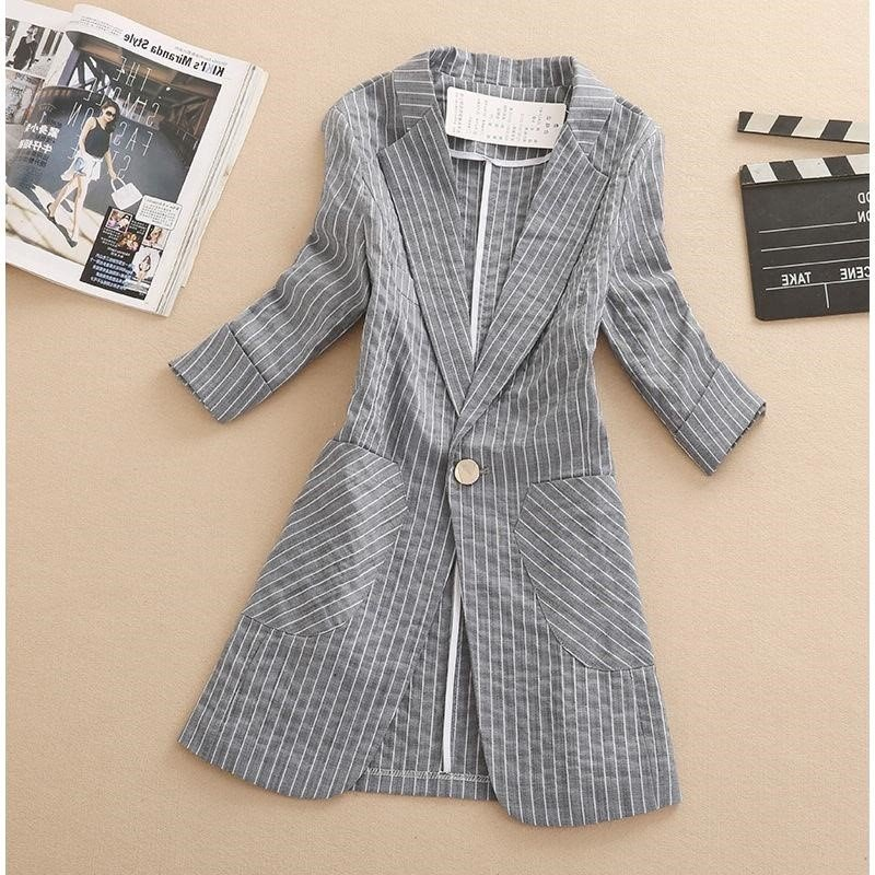Chic Blazer Jacket Womens Middle Length New Korean Slim Fit 3 / 4 sleeve thin stripe suit in spring of 2019