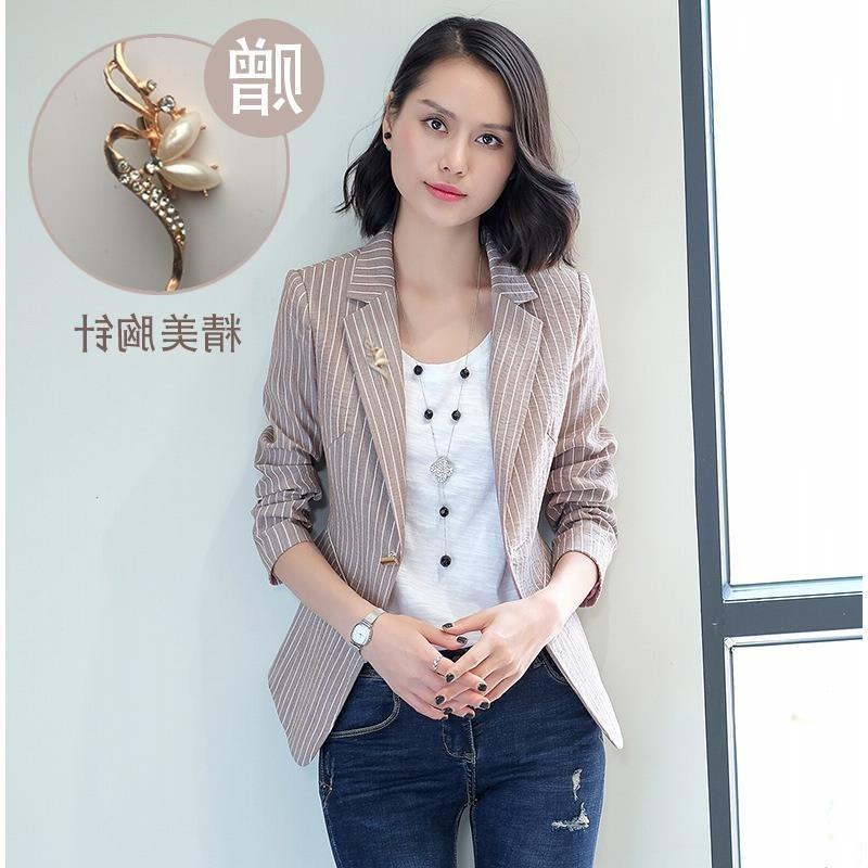[with lining] womens Blazer Jacket 2018 new spring and autumn Korean stripe retro casual jacket