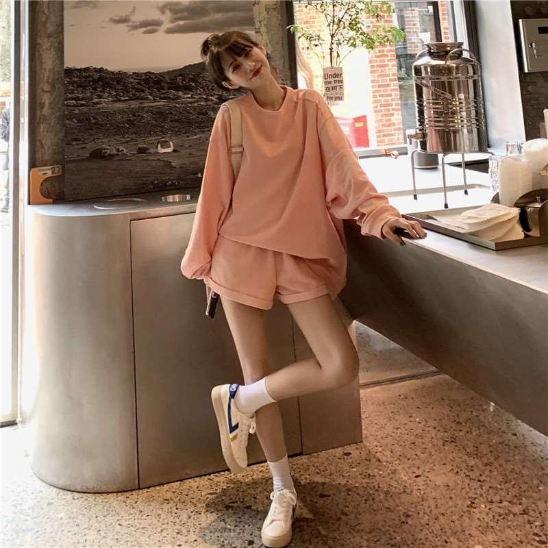 秋装女2020新款套装宽松圆领纯色甜美休闲长袖卫衣上衣短裤两件套