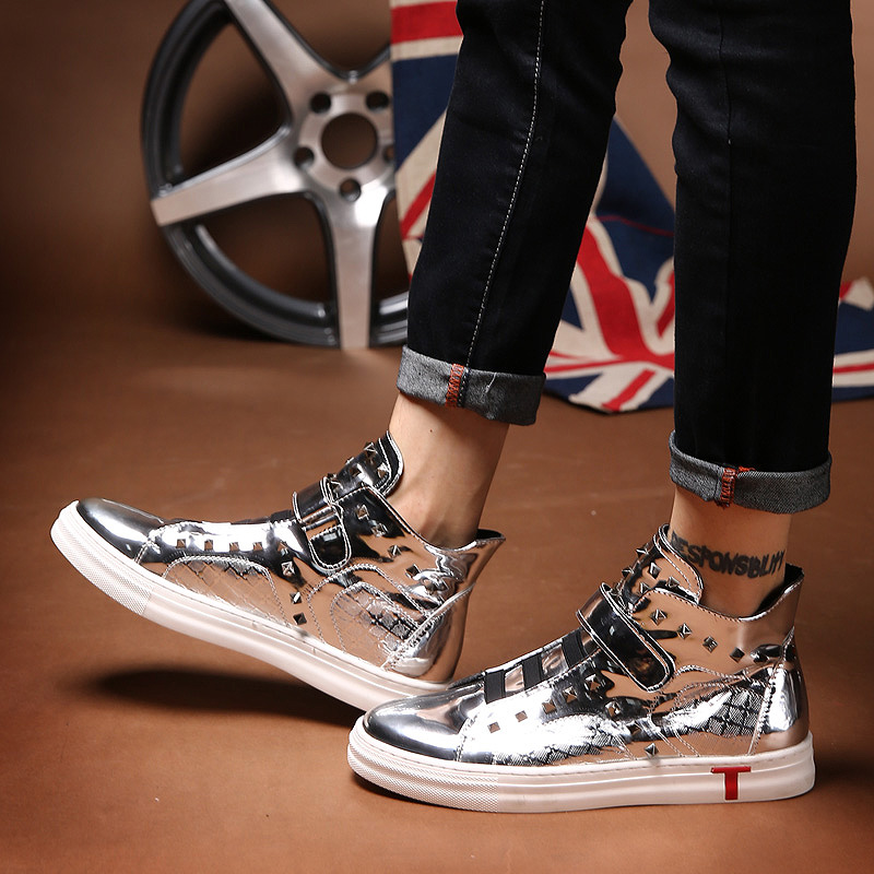 Japanese black shoeless hair stylist leather shoes mens high fashion shoes bright Short Boots Mens shoes silver high waist board shoes riveting