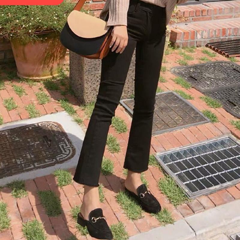 韩国黑色微喇叭牛仔裤女九分2020春秋季高腰显瘦弹力八分小喇叭裤