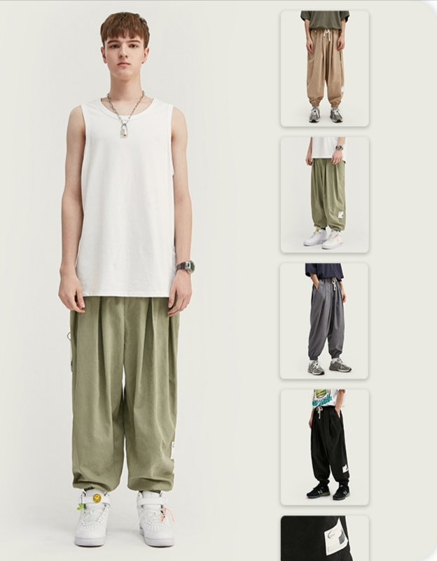 Chaomens Lantern Japanese fashion brand wide leg straight pants mens solid color casual tapered pants national trend