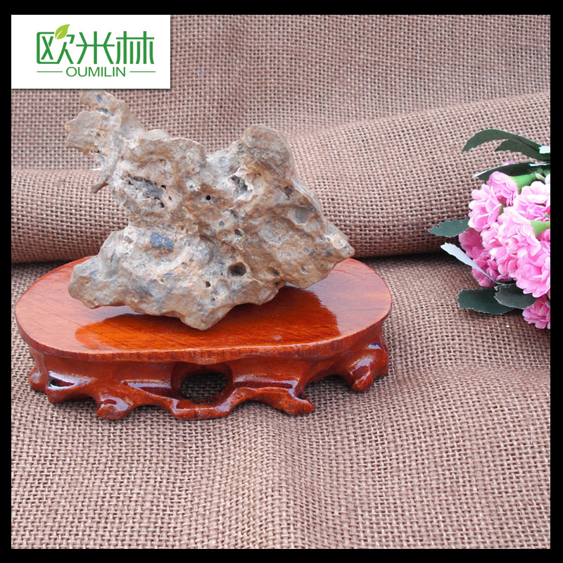 1806 10 piece set of solid wood ornament Stone Oval trenchless package mail head jade ornamental stone base