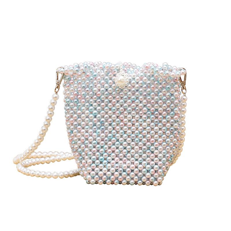 珍珠包包diy材料手工包包女2020春夏新款珠子串珠制作斜挎水桶包