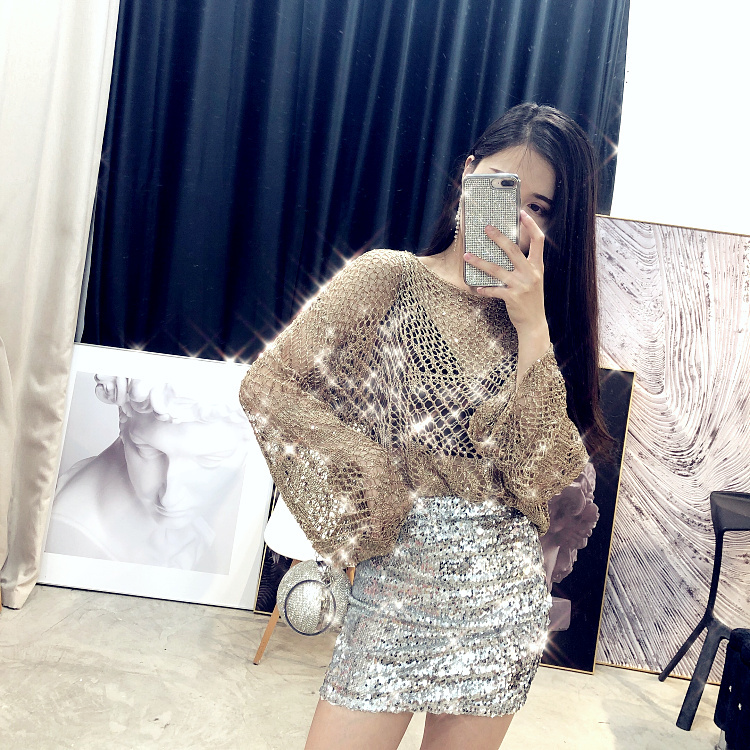 Jomi life2020 European station new chic goddess glittering Sequin knitwear small fragrant hollow out blouse