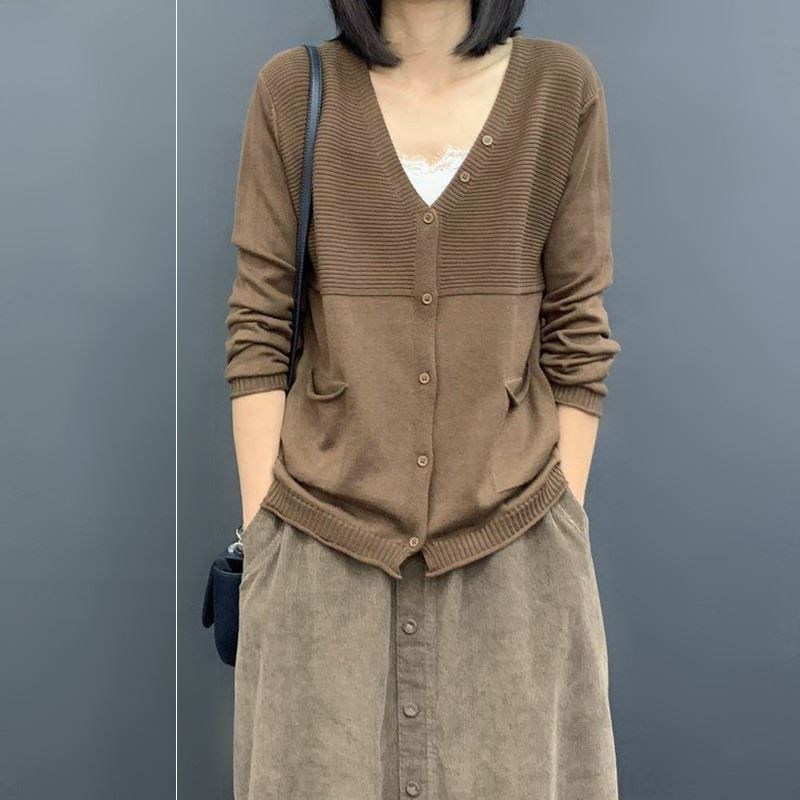 Autumn 2019 new Korean womens clothing loose and thin artistic solid color long sleeve knitted cardigan thin sweater coat