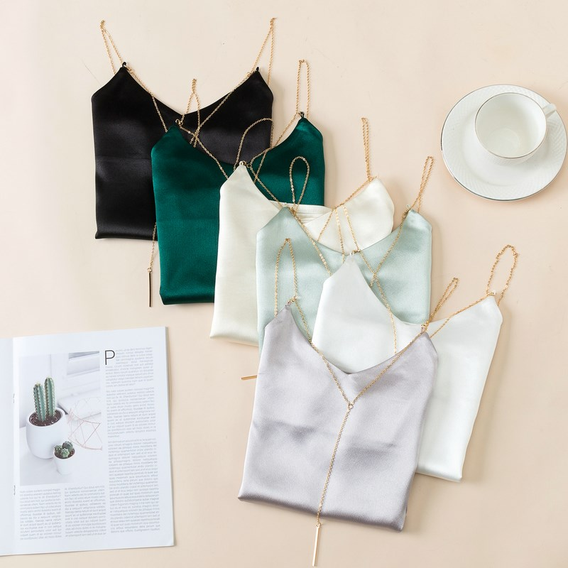 Silk satin in autumn and winter with black sexy top, V-neck suspender, sleeveless bottoming vest for women
