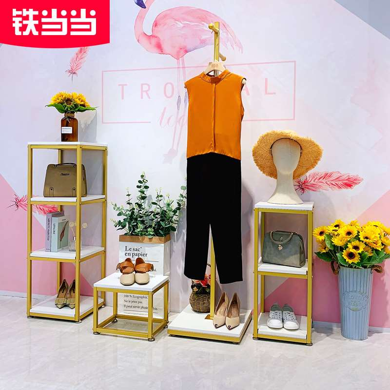 Complete sets of clothing furniture clothing store display rack floor type gold combination shoe rack womens clothing store shelf clothes rack