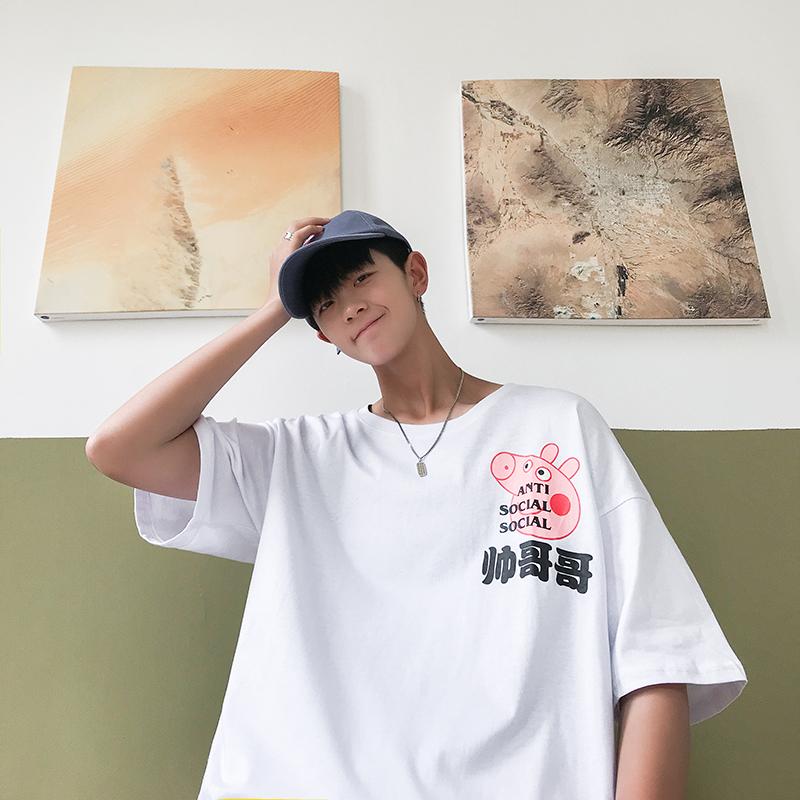 714-1-T085-p20男女生夏新款短袖港风男情侣T恤