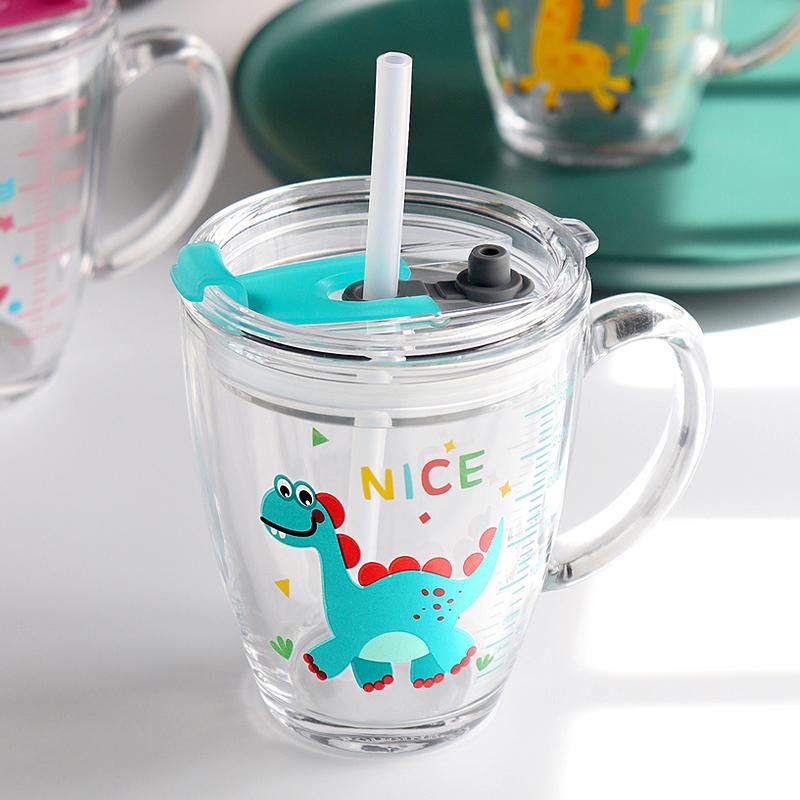 防摔玻璃带刻度牛奶杯儿童早餐奶杯家用泡冲奶粉喝奶专用宝宝杯子