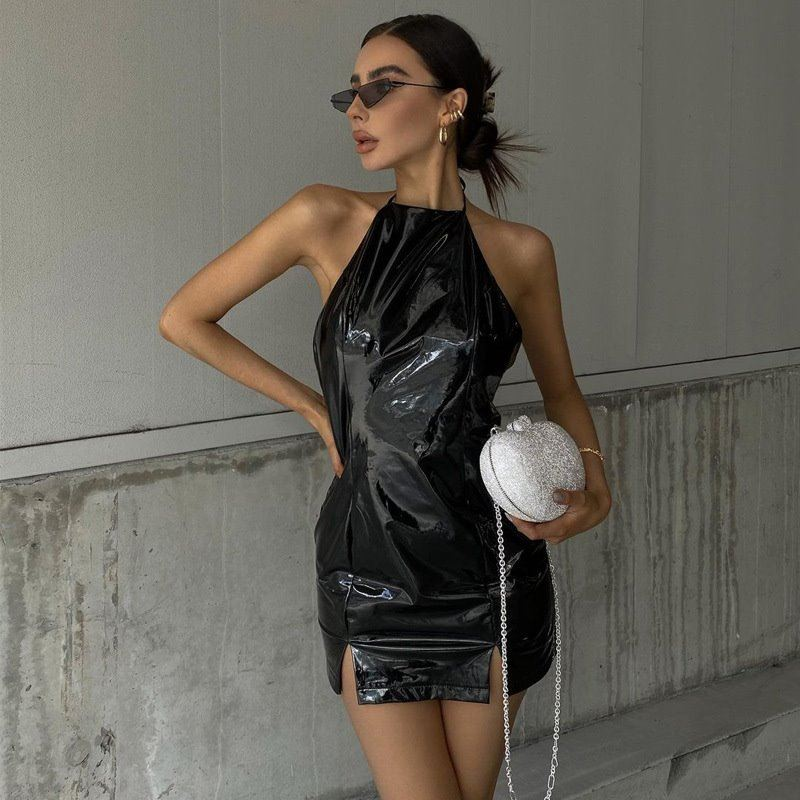 2021 new style dress with halter neck and split back连衣裙女