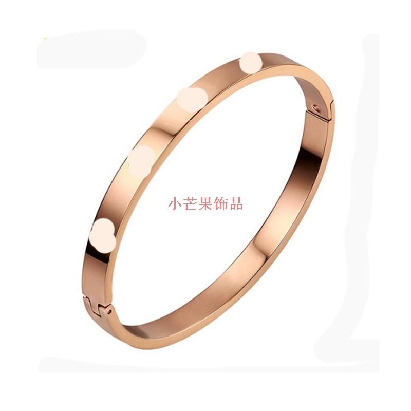 小芒果韩国玫瑰永恒之环铜卡扣手镯女珠宝时尚气质情侣铜饰饰品首