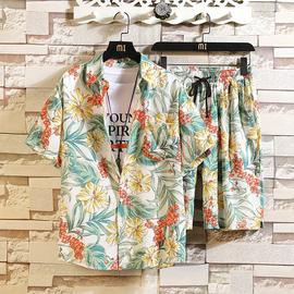 冰丝套装男速干夏季短袖衬衫潮流百搭花色沙滩短裤情侣搭配两件套