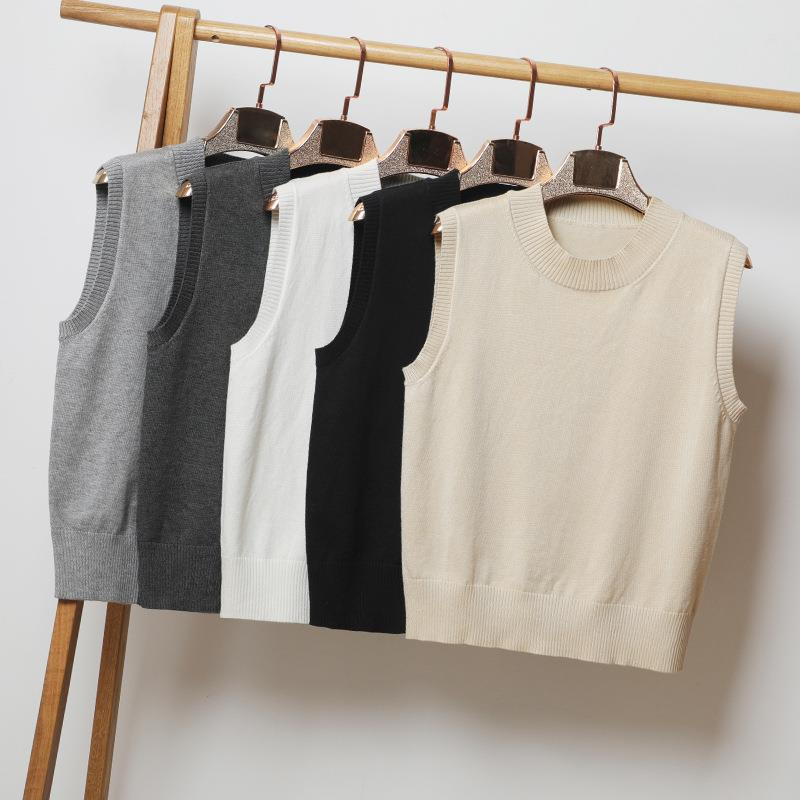 2020 new spring and autumn wear thin knitted vest top womens loose sleeveless spring and summer crew neck sweater