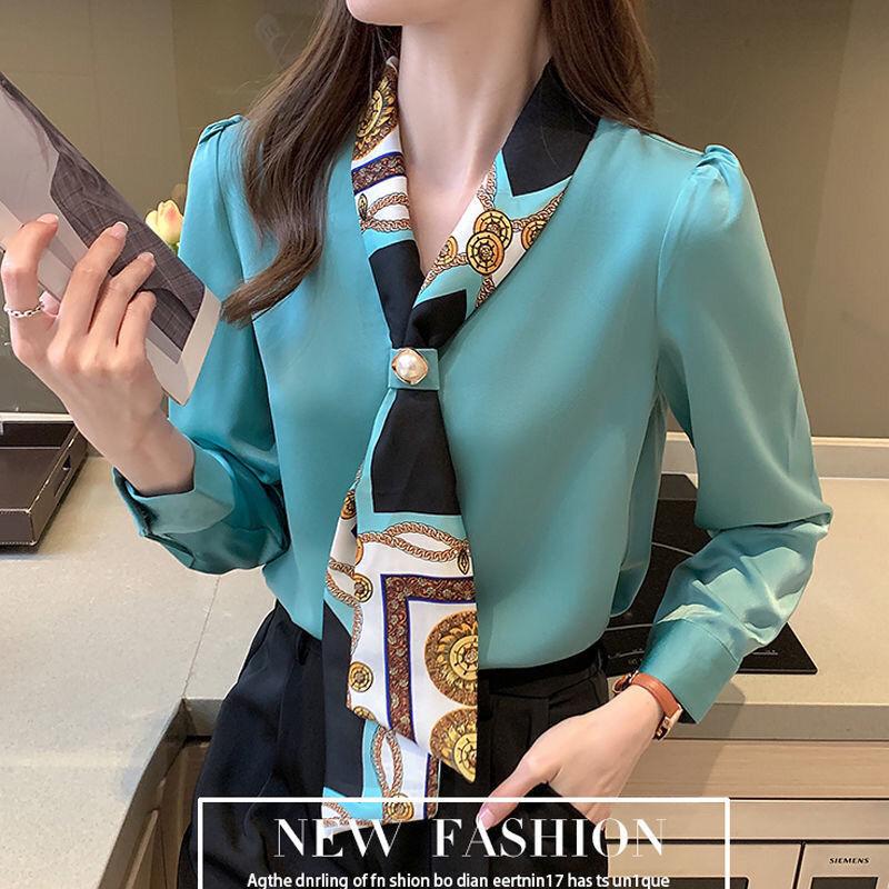 琅绅雪纺衬衫女设计感小众时尚洋气飘带春装气质面试系带职业衬衣