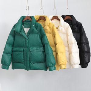 短款羽絨服女2019年新款冬時尚立領黑綠黃色80后亮面小個子面包服