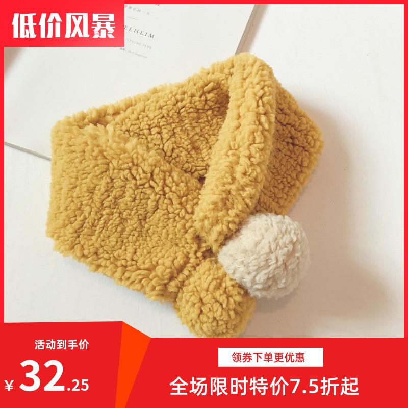 围巾儿童交叉保暖韩版新款绒球球羊羔围脖男女童秋冬宝宝小交叉.
