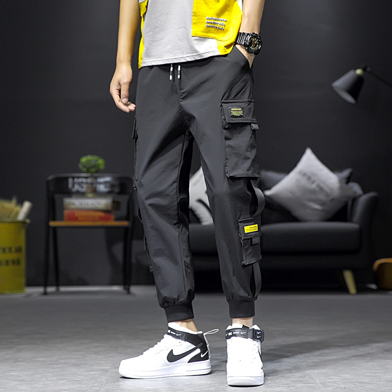 Handsome mens trousers Capris drawstring corset overalls mens fashion brand loose casual pants pants pants small feet Harun pants
