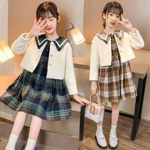 女童連衣裙套裝秋裝6洋氣8歲女孩9網紅7衣服兩件套12大童秋冬裙子