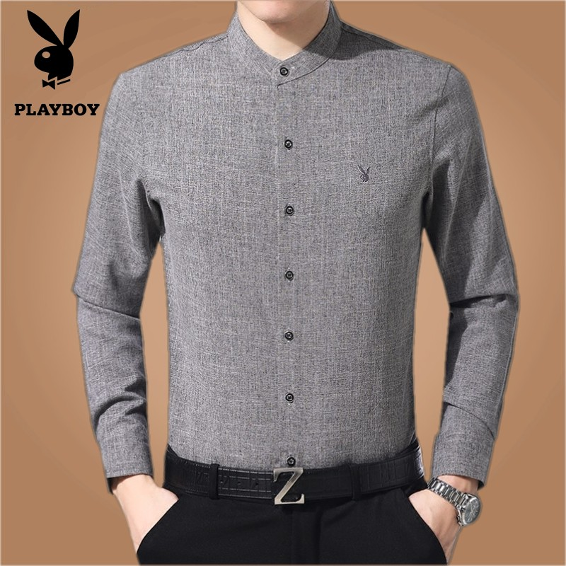 Playboy spring and autumn shirt mens long sleeve Chinese style standing collar cotton hemp round neck fathers middle-aged and elderly Linen Shirt
