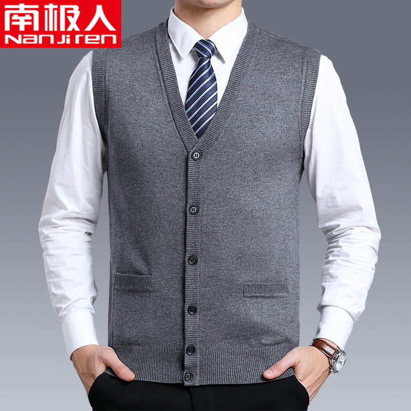 Spring and autumn Antarctica wool vest mens cardigan middle-aged and old dads knitted full wool jacket warm vest sleeveless