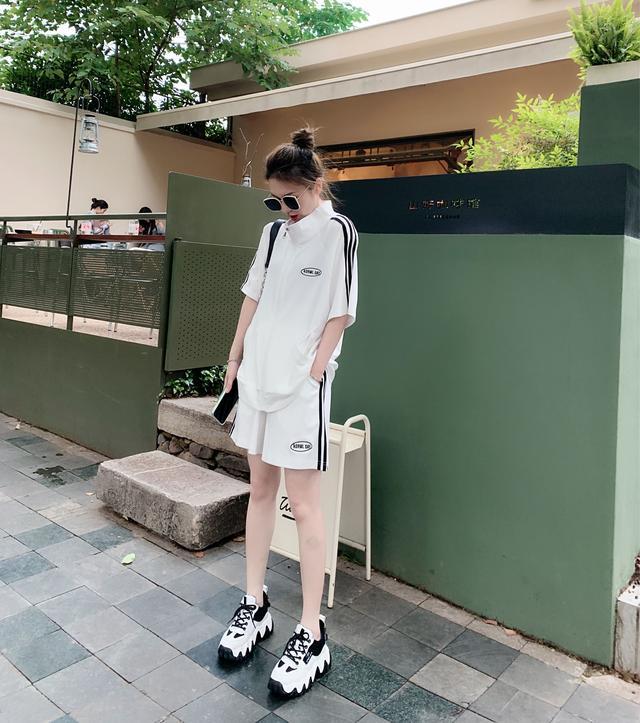 【清子穿搭分享清子】条纹贴布拼接短裤套装tz1445