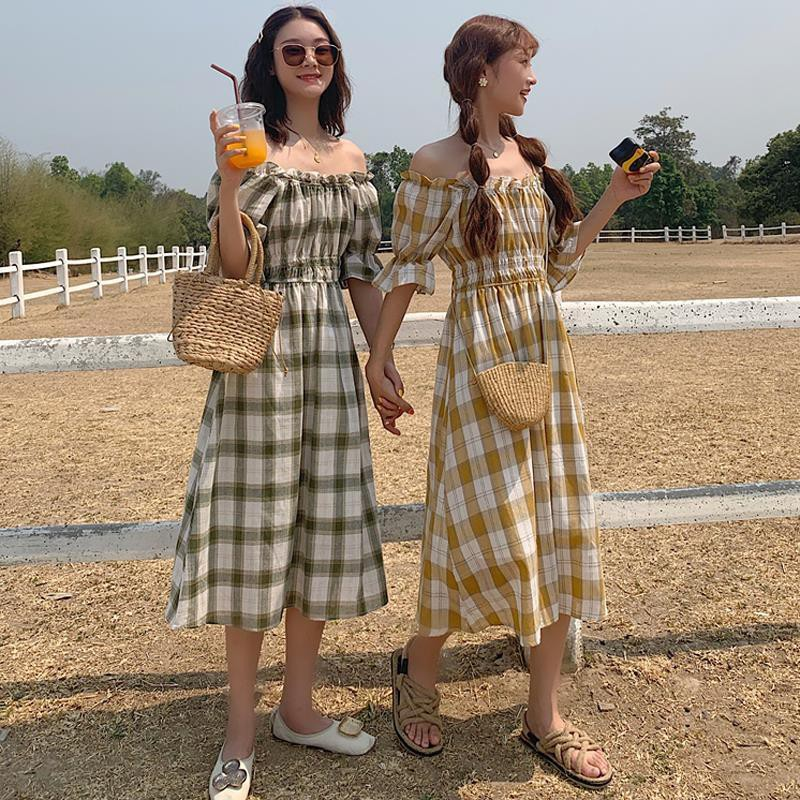 Retro Plaid mid length dress womens French Platycodon skirt knee length skirt summer 2020 NEW