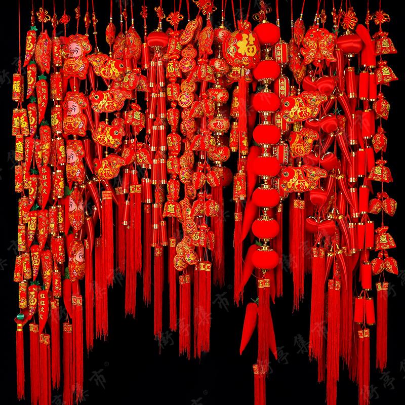 大红辣椒串春节过年福字喜庆新年装饰中国结客厅室内门年货小挂件