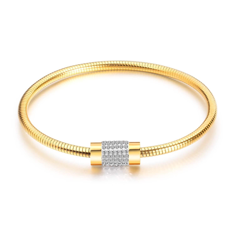 Cross border e-commerce hot accessories Bracelet womens diamond square snake chain titanium steel plated rose gold magnetic bracelet
