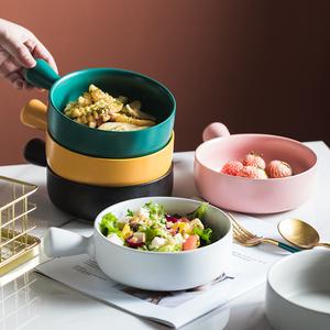 网红圆形陶瓷碗单柄 水果沙拉碗大号 家用早餐碗小米粥碗盘烤箱碗