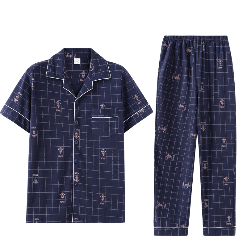 Spring Summer %Cotton Men's Short Sleeve Pajamas