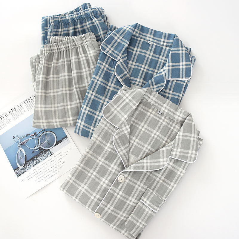 Men's Plaid Pajama Suit % Cotton Gauze Thin Casual Pijama