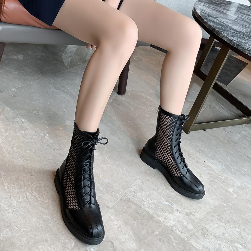 网靴夏季透气薄款短靴2020春款网红马丁靴女英伦风真皮镂空凉靴子