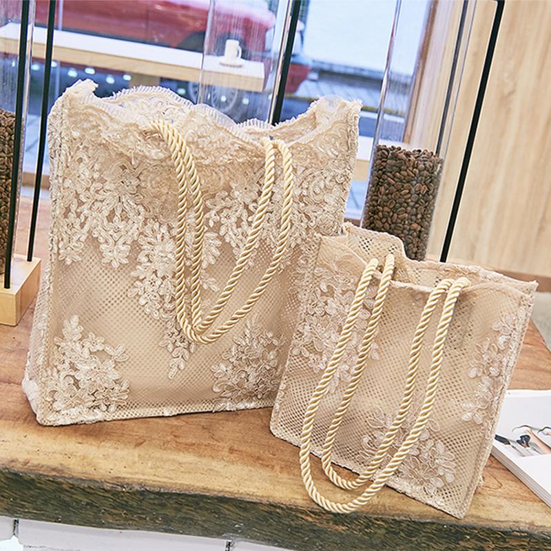 Lace bag womens 2019 new handbag shopping bag hollow beach bag retro embroidery shoulder bag womens handbag