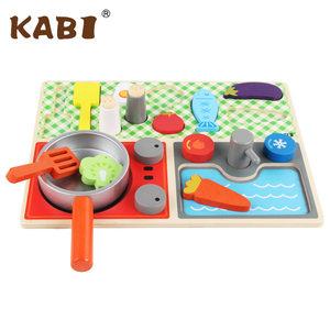 趣味厨房过家家0.61 仿真厨房KB1 木制儿童食物认知玩具套装
