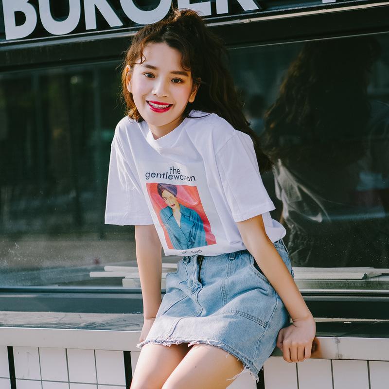 2020夏季新款宽松韩版圆领人物头像印花T恤休闲大方女士短袖上衣