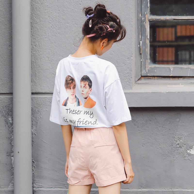 短袖t恤女2020夏新款韩版圆领头像印花宽松休闲百搭纯色半袖上衣