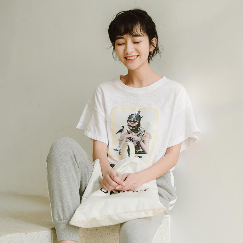 2020韩版夏季新款甜美头像印花荷叶袖时尚大方个性气质短袖t恤女
