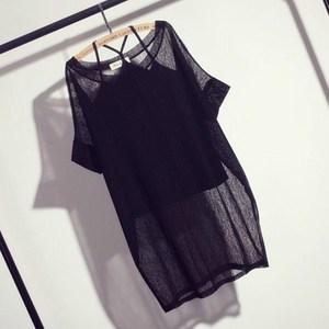 女装圆领短袖大码两件套头薄款上衣夏宽松大码韩版吊带纱网罩衫女图片