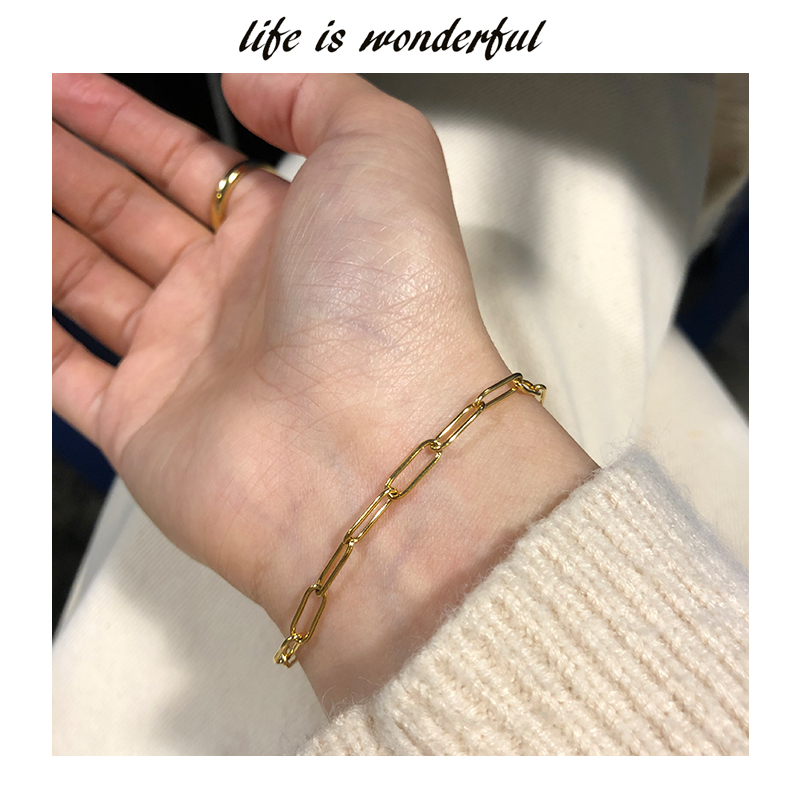 European and American fashion simple cool ins STYLE BRACELET WOMEN 18K Gold Plated small crowd design fashionable square brand chain bar Bracelet