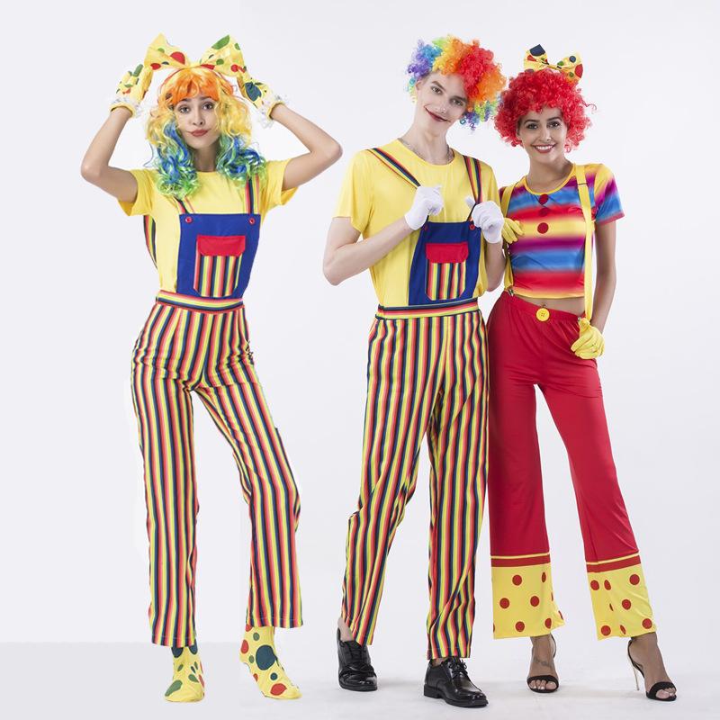万圣节新款实拍马戏团小丑角色扮演服背带裤条纹套装夜店舞台服装