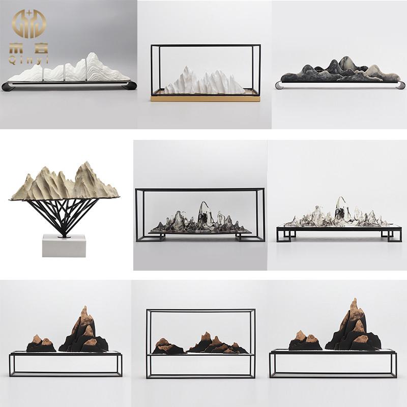 现代新中式禅意样板房透明假山摆件家居客厅软装饰品玄关景观摆设