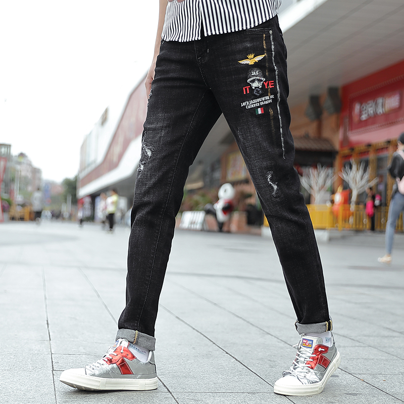 Think about new jeans mens pants mens slim straight elastic pants casual versatile pants four seasons jeans