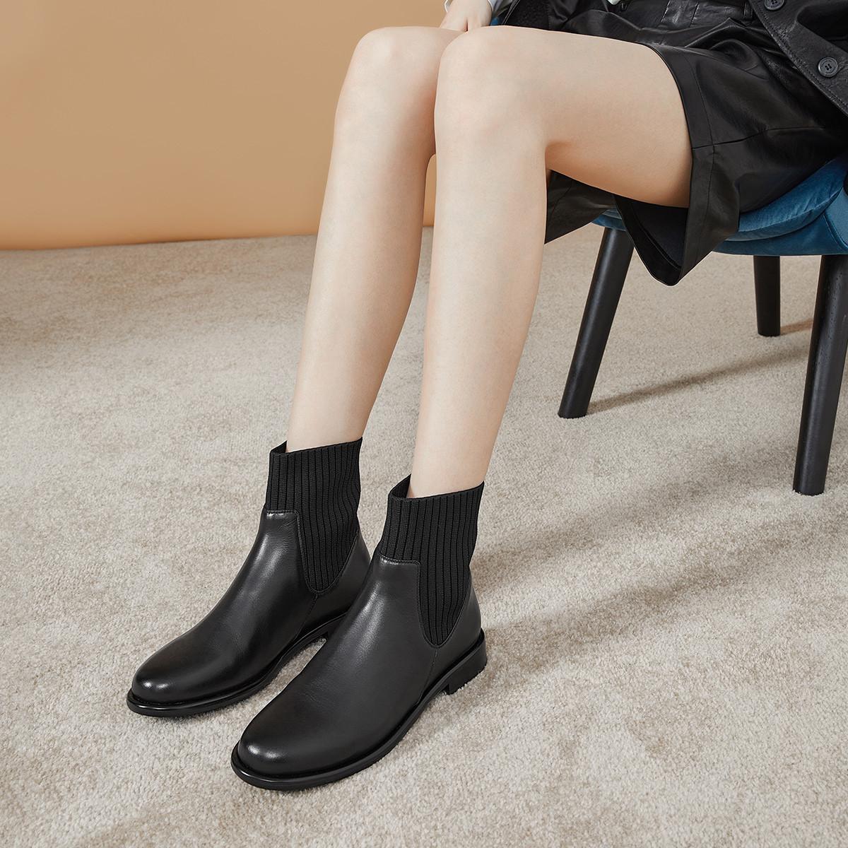 切尔西女靴新款牛皮百搭一脚蹬女靴子短靴