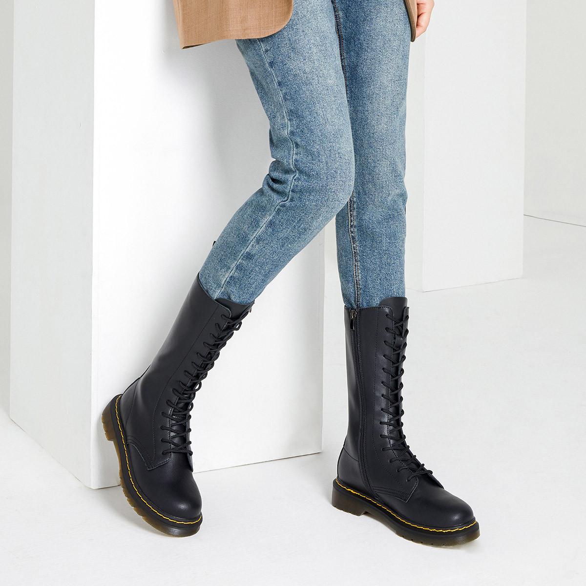 杰雷哈洛新款帅酷拉链马丁靴高筒女靴子机车靴