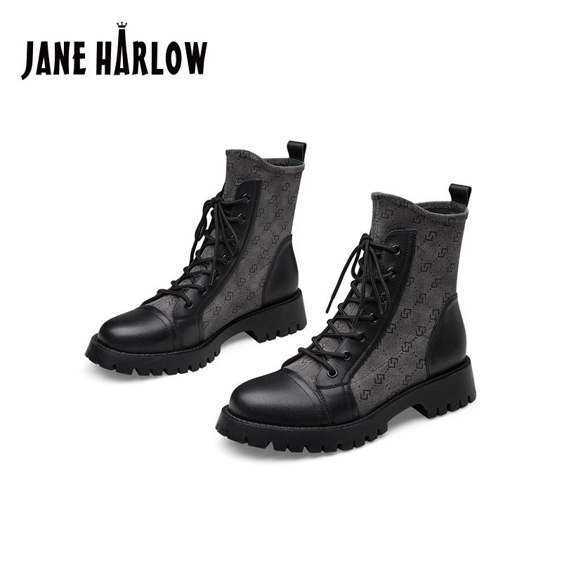 杰雷哈洛秋冬黑色短靴厚底英伦风马丁靴女弹力靴 J24FF32252PH