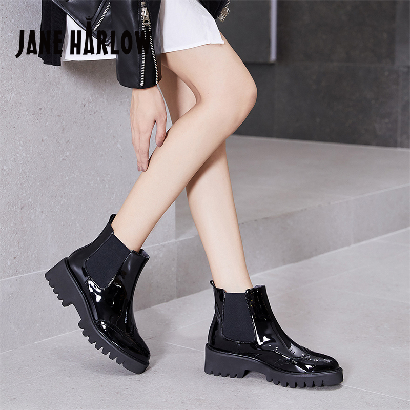 Jerryhallo career womens shoes black thick soled Chelsea short boots British autumn and winter single boots j14ff00678pa