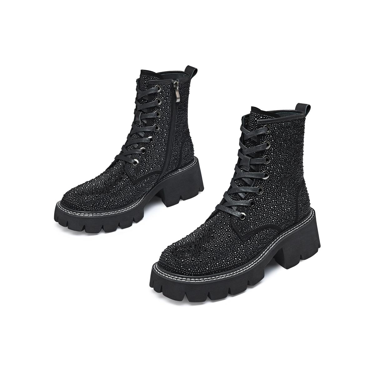 【马丁靴】2021秋冬新款满钻拉链厚底约会女休闲靴短筒靴女靴