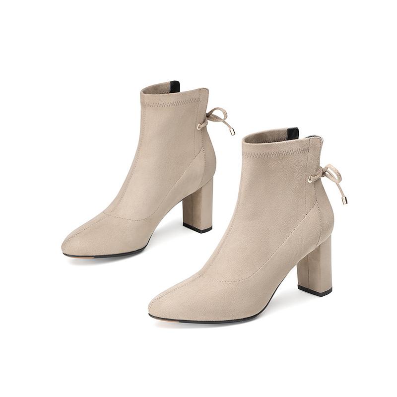 杰雷哈洛职场女鞋 秋冬白色短筒高跟短靴粗跟时装靴 J24AF06285PD